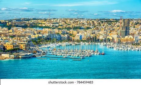 Valletta, Malta: aerial view from city walls, Marsamxett harbor and Sliema