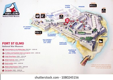 VALLETTA, MALTA - APR 10, 2018 - Medieval map of the Great Siege of Malta, Fort Saint Elmo War Museum,Valletta, Malta
