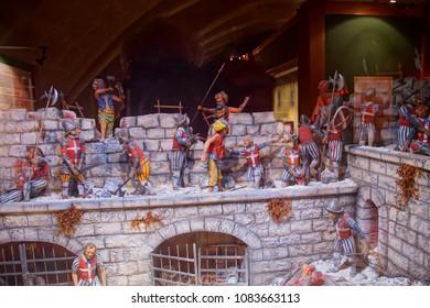 VALLETTA, MALTA - APR 10, 2018 - Diorama of battle on the walls during the Great Siege of Malta, Fort Saint Elmo War Museum, Valletta, Malta