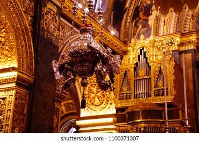 VALLETTA, MALTA - APR 10, 2018 - Baroque pipe organ in Saint John Cathedral, Valletta, Malta