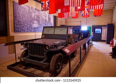 VALLETTA, MALTA - APR 10, 2018 - Husky jeep used by President Franklin D. Roosevelt in January, 1945 conference, Fort Saint Elmo War Museum, Valletta, Malta