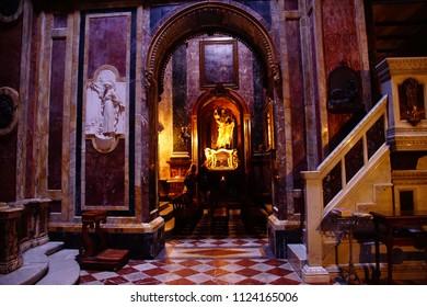 VALLETTA, MALTA - APR 10, 2018 - Ornate interior of  Baroque Church of St. Paul's Shipwreck, Valletta, Malta