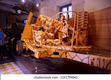 VALLETTA, MALTA - APR 10, 2018 - Bofors 40 mm anti-aircraft cannon from World War II, Fort St Elmo War Museum, Valletta, Malta