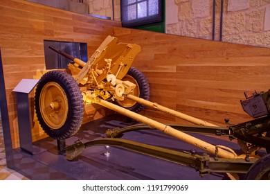 VALLETTA, MALTA - APR 10, 2018 - Italian cannon captured in North Africa, Fort St Elmo War Museum, Valletta, Malta