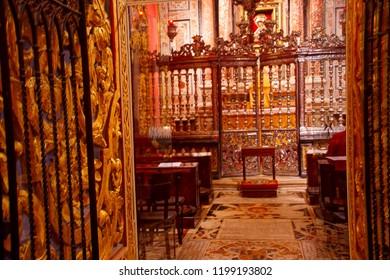 VALLETTA, MALTA - APR 10, 2018 - Baroque golden decorations on side chapel langue of Saint John Cathedral, Valletta, Maltalangue, Valletta, Malta