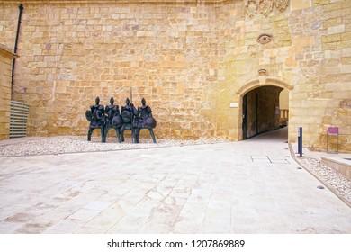 VALLETTA, MALTA - APR 10, 2018 - Abstract sculpture of medieval warrior Knights of Malta, Fort St Elmo War Museum, Valletta, Malta