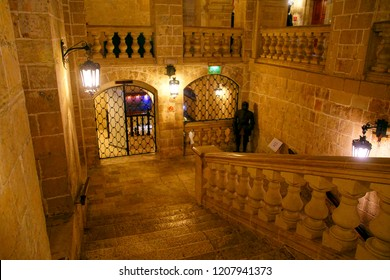 VALLETTA, MALTA - APR 10, 2018 - Grand stone staircase of the Sacre Infirmia of Knights of St John Hospitaller, Valletta, Malta