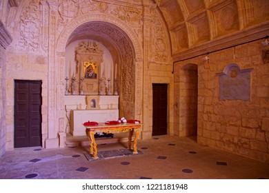 VALLETTA, MALTA - APR 10, 2018 - Limestone Altar of Chapel of Saint Anne in Valletta, Malta