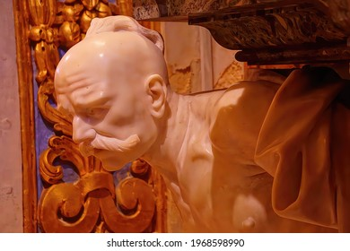 VALLETTA, MALTA - APR 10, 2018 - Head of a Turk on memorial in Saint John Cathedral, Valletta, Malta