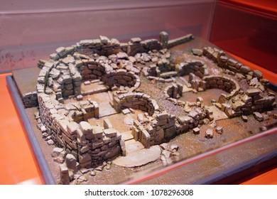 VALLETTA, MALTA - APR 11, 2018 - Model of prehistoric neolithic excavation,Archaeological Museum,Valletta, Malta