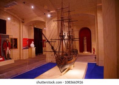 VALLETTA, MALTA - APR 11, 2018 - Model of sailing ship, Malta Maritime Museum, Birgu Vittoriosa, Malta