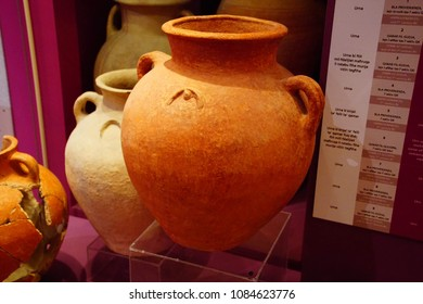 VALLETTA, MALTA - APR 11, 2018 - Phoenician pottery jars and urns, Archaeological Museum,Valletta, Malta