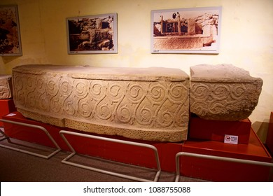 VALLETTA, MALTA - APR 11, 2018 - Maltese megalithic art from Tarxien,Archaeological Museum,Valletta, Malta