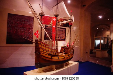 VALLETTA, MALTA - APR 11, 2018 - Maltese knights carrack Santa Maria, Malta Maritime Museum, Birgu Vittoriosa, Malta