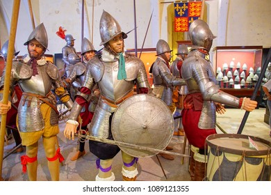 VALLETTA, MALTA - APR 11, 2018 - Maltese medieval infantry with halberds and pikes, Palace Armoury, Valletta, Malta