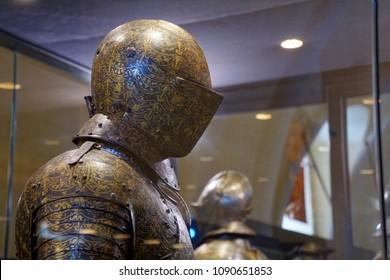 VALLETTA, MALTA - APR 11, 2018 - Gilt helmet of tournament armor, Palace Armoury, Valletta, Malta