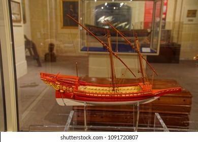 VALLETTA, MALTA - APR 11, 2018 - 18th century Maltese war galley, Malta Maritime Museum, Birgu Vittoriosa, Malta