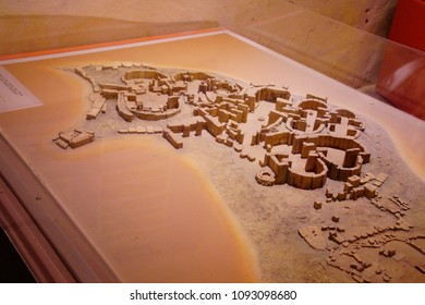 VALLETTA, MALTA - APR 11, 2018 - Model of prehistoric neolithic excavation,Archaeological Museum,Valletta, Malta