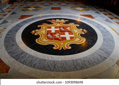 VALLETTA, MALTA - APR 11, 2018 - Coat of arms marble inlay on floor of Grand Master's Palace, Valletta, Malta