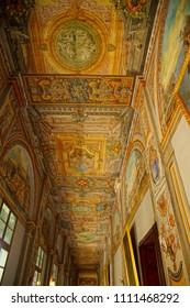 VALLETTA, MALTA - APR 11, 2018 - Painted ceiling and walls of fthe Grand Master's Palace, Valletta, Malta