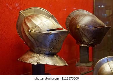 VALLETTA, MALTA - APR 11, 2018 - Renaissance armor helmets, Palace Armoury, Valletta, Malta