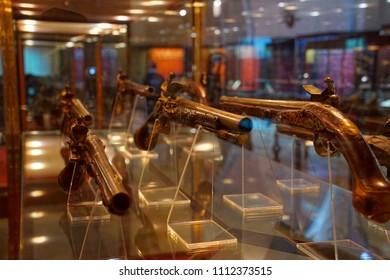 VALLETTA, MALTA - APR 11, 2018 - Renaissance flintlock pistols, Palace Armoury, Valletta, Malta