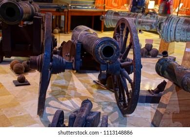 VALLETTA, MALTA - APR 11, 2018 - Small Renaissance cannon, Palace Armoury, Valletta, Malta