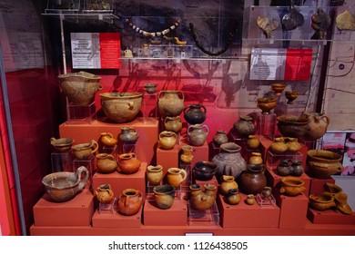 VALLETTA, MALTA - APR 11, 2018 - Neolithic pottery jars and urns, Archaeological Museum,Valletta, Malta