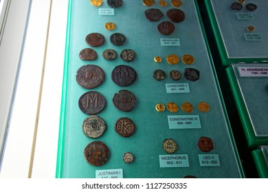 VALLETTA, MALTA - APR 11, 2018 - Gold and silver coins of the Byzantine Empire, Archaeological Museum,Valletta, Malta