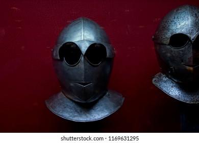 VALLETTA, MALTA - APR 11, 2018 - Savoyard style close helmet armor, Palace Armoury, Valletta, Malta