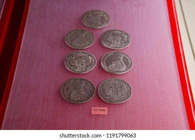 VALLETTA, MALTA - APR 11, 2018 - Gold and silver coins of medieval emperors, Archaeological Museum,Valletta, Malta
