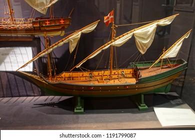 VALLETTA, MALTA - APR 11, 2018 - Model of Arab style dhow sailing ship, Malta Maritime Museum, Birgu Vittoriosa, Malta