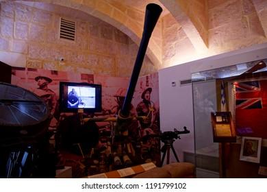 VALLETTA, MALTA - APR 11, 2018 - Bofors 4 1/2 inch anti-aircraft artillery gun, Malta at War Museum, Birgu Vittoriosa, Malta