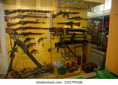 VALLETTA, MALTA - APR 11, 2018 - Machine guns and other infantry weapons, Malta at War Museum, Birgu Vittoriosa, Malta