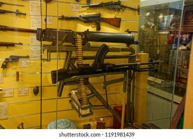 VALLETTA, MALTA - APR 11, 2018 - Machine guns and other infantry weapons, Malta at War Museum, Birgu Vittoriosa, Malta