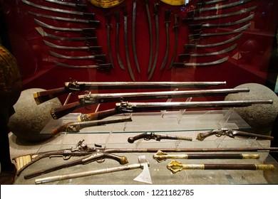 VALLETTA, MALTA - APR 11, 2018 - Antique muskets, rifles and baoynets, Palace Armoury, Valletta, Malta