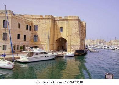 VALLETTA, MALTA - APR 11, 2018 - Waterfront marina with boats,   Valletta, Malta