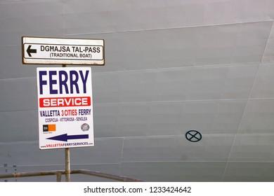 VALLETTA, MALTA - APR 11, 2018 - Sign for ferry service from Valletta to Birgu Vittoriosa, Malta