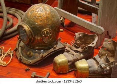 VALLETTA, MALTA - APR 11, 2018 - Antique diver's helmet and equipment, Malta Maritime Museum, Birgu Vittoriosa, Malta