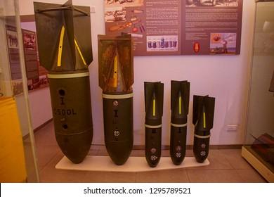 VALLETTA, MALTA - APR 11, 2018 - German bombs dropped on Malta during World War II, Malta at War Museum, Birgu Vittoriosa, Malta