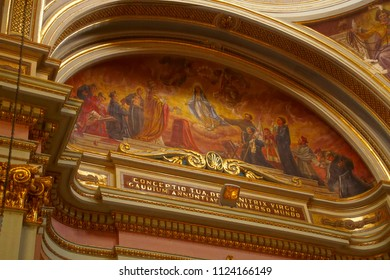 VALLETTA, MALTA - APR 12, 2018 - Ceiling frescoes of the life of the saint,Church of St Francis Assisi,  Valletta, Malta