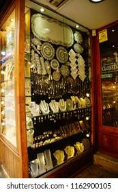 VALLETTA, MALTA - APR 12, 2018 - Lace and jewelry in shop window in Valletta, Malta