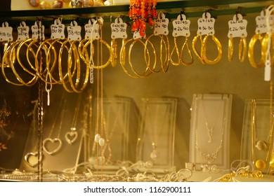 VALLETTA, MALTA - APR 12, 2018 - Gold bangles and jewelry in Valletta, Malta