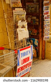 VALLETTA, MALTA - APR 12, 2018 - International newspaper at stand in Valletta, Malta