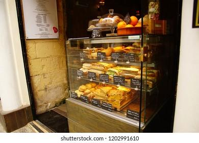 VALLETTA, MALTA - APR 12, 2018 - Traditional lunch offerings at a local restaurant in Valletta, Malta