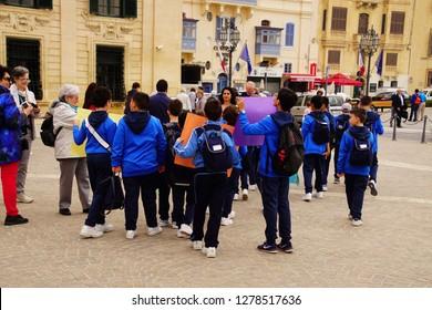 VALLETTA, MALTA - APR 12, 2018 - School field trip starts  in Upper Barrakka Gardens,Valletta, Malta