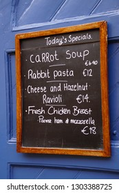VALLETTA, MALTA - APR 12, 2018 - Lunch menu on chalk board in Valletta, Malta