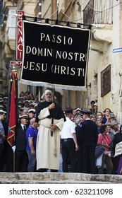 VALLETTA, MALTA - APR 15 - Biblical enactment of the passion during in the Good Friday procession in Valletta, Malta April 15, 2017