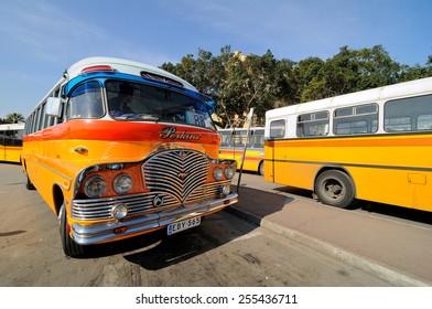 VALLETTA, MALTA - APR 19 :The legendary and iconic Malta public buses in the Valletta city bus station in Malta April 19, 2011