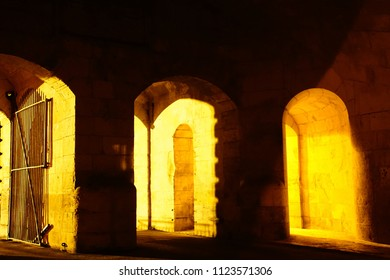 VALLETTA. MALTA - APR 9, 2018 - Nighttime illumination of fortifications of the Grand Harbor of Valletta, Malta